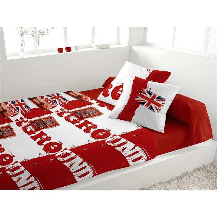 parure de lit 5 pi ces underground rouge achat vente parure de lit cdiscount. Black Bedroom Furniture Sets. Home Design Ideas