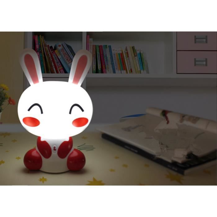 lampe b b r veil b b en forme lapin usb recharge lumi re touche 9 led rose achat. Black Bedroom Furniture Sets. Home Design Ideas