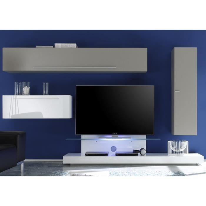 Ensemble meuble tv mural blanc laqu et gris noa avec for Meuble mural gris
