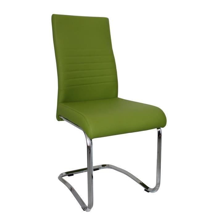 Lot de 4 chaises paul vert en simili cuir design achat for Lot de 4 chaises design