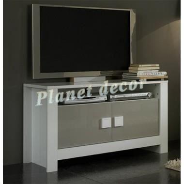 Meuble tv modele pisa blanc gris achat vente meuble tv for Modele meuble tv