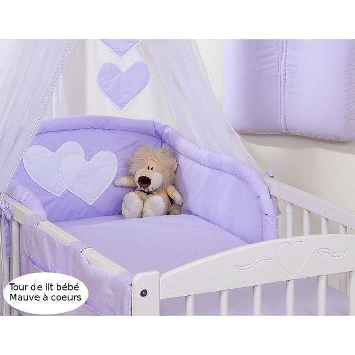 tour de lit b b 120 60 ou 140 70 mauve coeu achat vente tour de lit b b 5908297427850. Black Bedroom Furniture Sets. Home Design Ideas