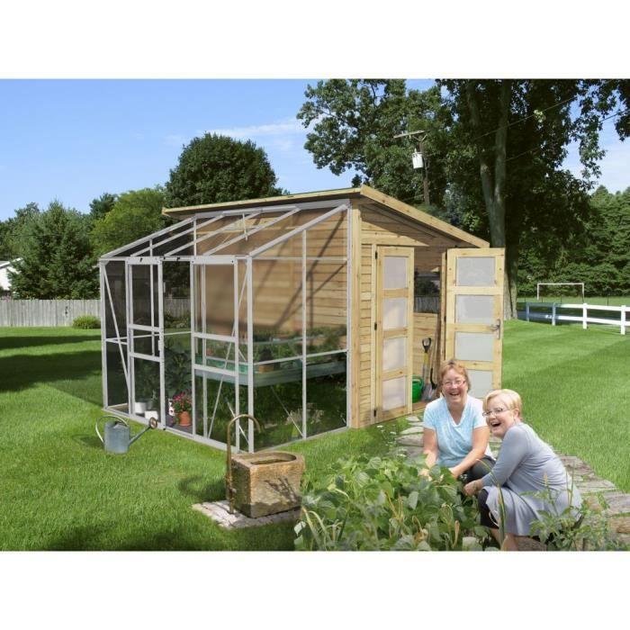 Abri de jardin bois avec serre polycarbonate 8 achat for Cabanon de jardin en solde