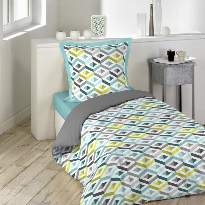 parure de couette 2 pi ces 140x200 geomy achat vente parure de couette soldes d t cdiscount. Black Bedroom Furniture Sets. Home Design Ideas