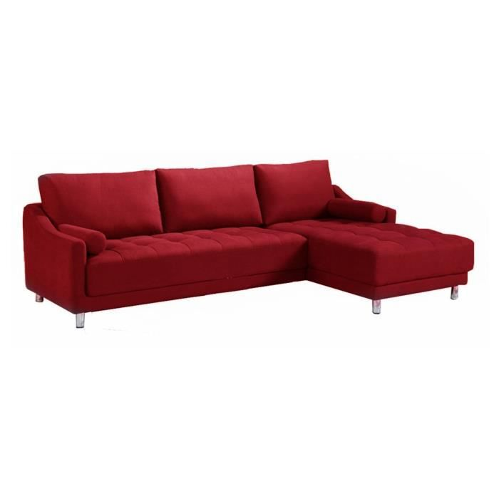 Canap d 39 angle en tissu angle droit rouge plus achat for Canape d angle multicolore