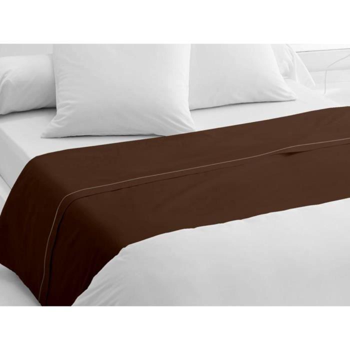 drap plat en coton fleur de percale chocolat achat vente drap plat les soldes sur. Black Bedroom Furniture Sets. Home Design Ideas