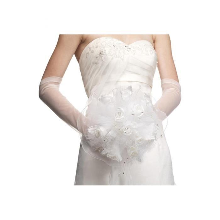 Bouquet de fleurs et strass pour la mari e blanc unique achat vente bouquet mari e tissu - Strass pour bouquet de mariee ...