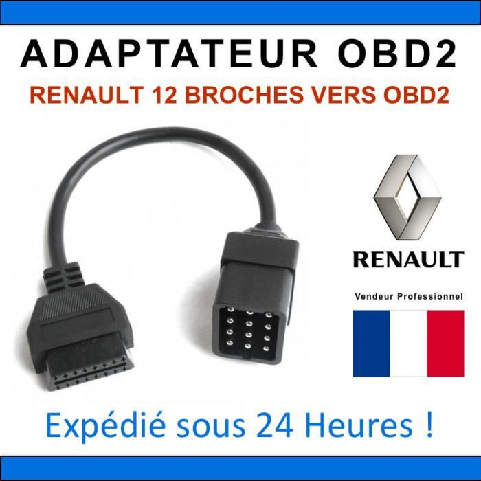 adaptateur diagnostique obd2 renault 12 broches can clip delphi autocom elm achat vente. Black Bedroom Furniture Sets. Home Design Ideas