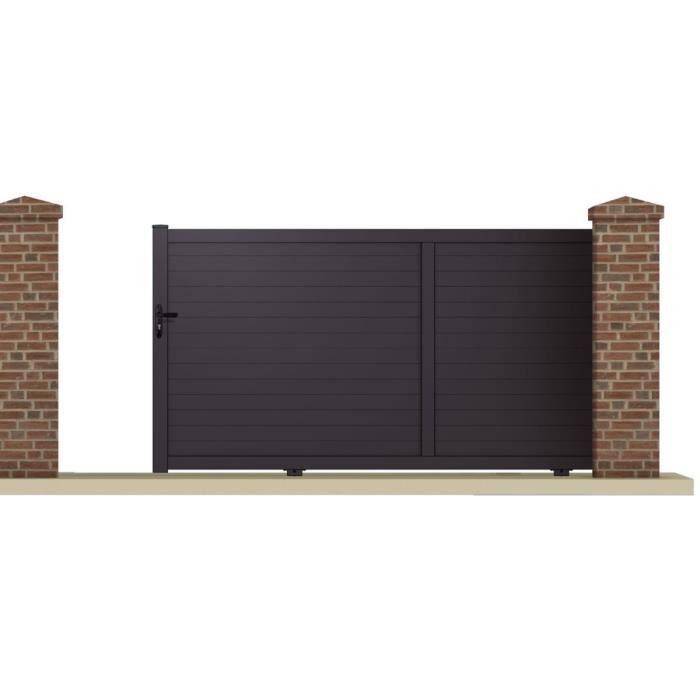 portail coulissant m aluminium coloris gris achat vente portail portillon portail. Black Bedroom Furniture Sets. Home Design Ideas