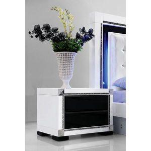 table de chevet laque noir et blanc h brillance achat. Black Bedroom Furniture Sets. Home Design Ideas