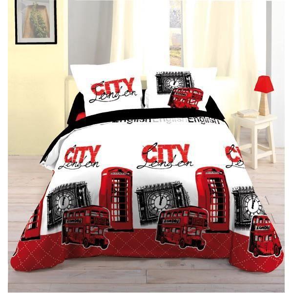 parure de lit city 3 bus london 100 coton achat vente. Black Bedroom Furniture Sets. Home Design Ideas