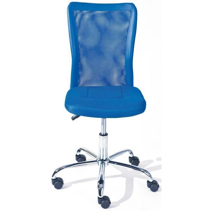 Chaise de bureau bleu en polyester dim l43 x achat - Chaise de bureau bleu ...