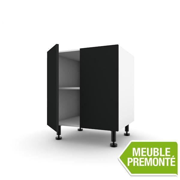 Meuble bas 60cm 2 portes 70x30 soft ardoise achat vente elements bas meuble bas 60cm 2 for Meuble 70x30
