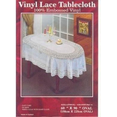 60 x 90 couverture table ovale nappe dentelle vinyle for Nappe de table ovale