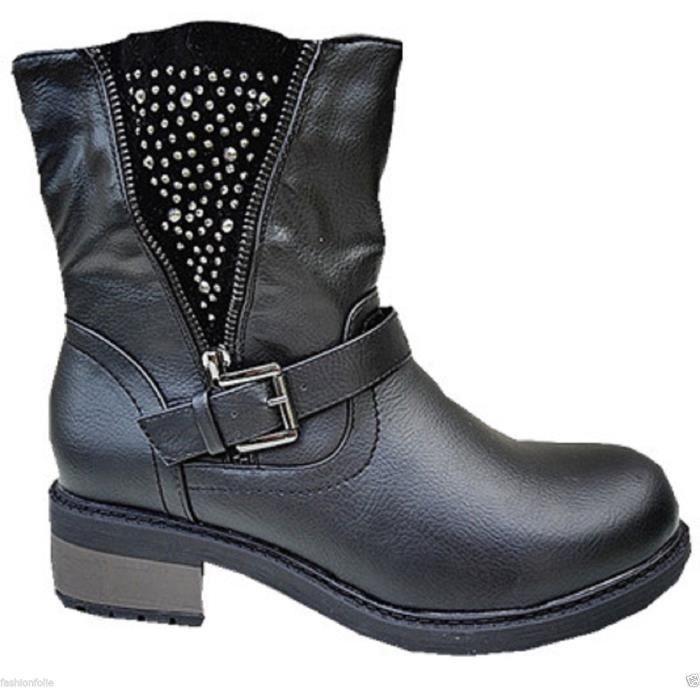femme bottine botte boots chaussure fourr es fur fourrure talon carr sm170 noir noir noir. Black Bedroom Furniture Sets. Home Design Ideas