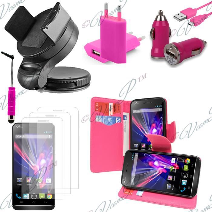 Pour wiko wax rose lot etui housse coque pochette for Housse voiture rose