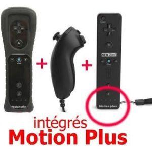MANETTE CONSOLE Manette Motion Plus Wii + Nunshuck + Housse Noir