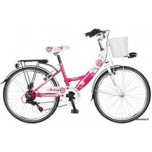 VÉLO ENFANT Vélo enfant 22 pouces DIVA Couleur - Blanc/Fuchsia
