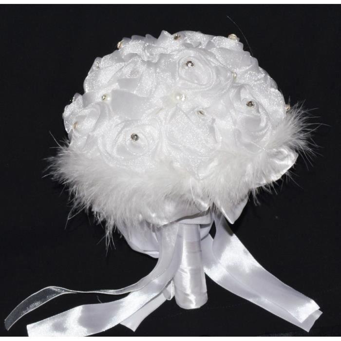 Bouquet de fleur pour la mari e tissus perles strass accessoires mariage achat vente - Strass pour bouquet de mariee ...
