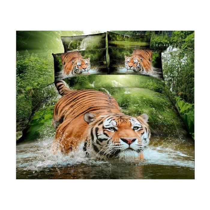 parure de lit tigre dans la for t coton 200 230 cm 3d effet 4 piece achat vente housse de. Black Bedroom Furniture Sets. Home Design Ideas
