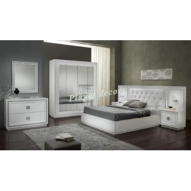 Chambre coucher model kristel blanc achat vente for Exemple chambre a coucher