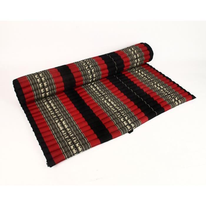 Tapis tha enroulable xxl 200x160x5 cm kapok noir rouge achat vente tapis de sol fitness - Matelas enroulable adulte ...