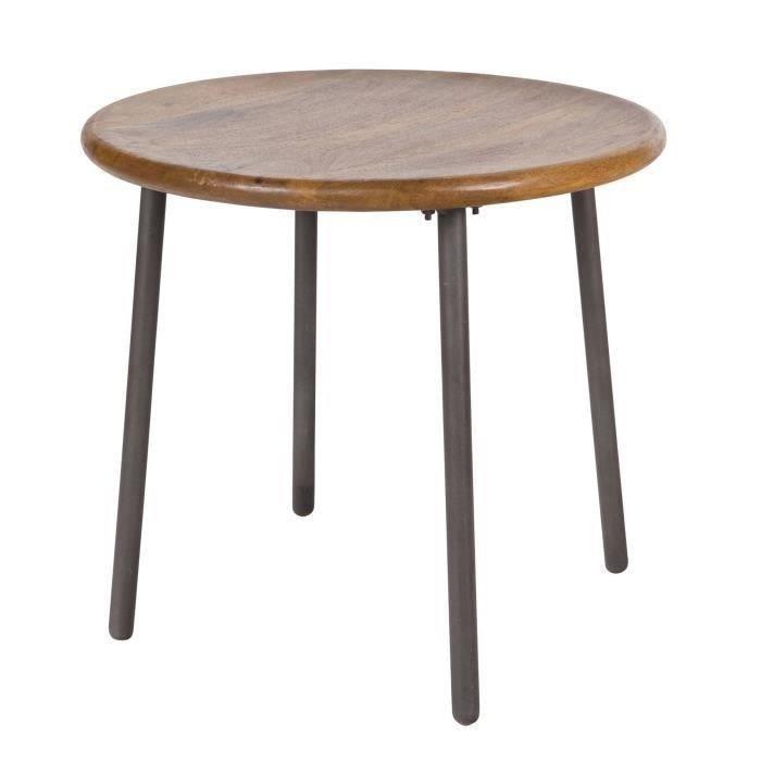 Wood table basse ronde 53x53 cm bois achat vente for Table basse ronde bois