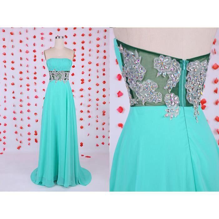 robe verte de soir e robe de demoiselle d 39 honneur robe perl e longue robe en mousseline de soie. Black Bedroom Furniture Sets. Home Design Ideas
