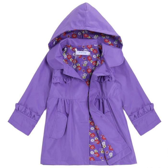 fille b b enfant manteau capuchon tanche ou violet achat vente imperm able trench. Black Bedroom Furniture Sets. Home Design Ideas