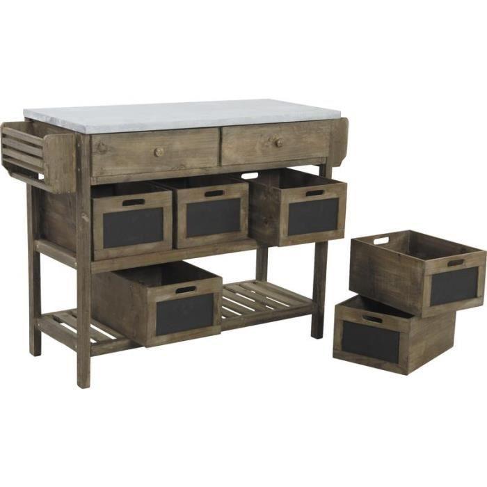 Console en bois vieilli et zinc dimensions 1 achat vente console cons - Console bois vieilli ...