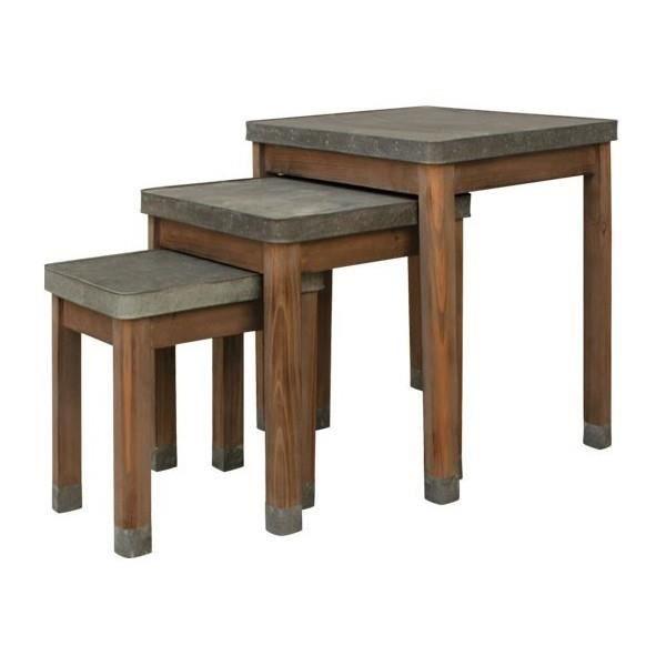 Lot de 3 tables gigognes comptoir zinc et bois achat for Table basse gigogne bois