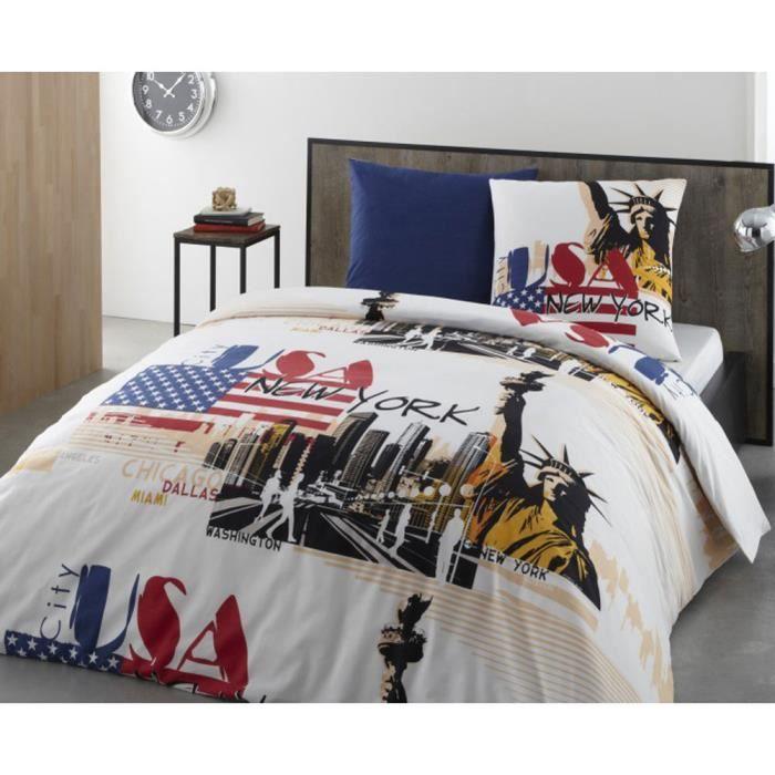 parure de lit new york 240 cm achat vente parure de couette cdiscount. Black Bedroom Furniture Sets. Home Design Ideas