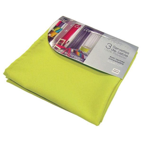 lot de 3 serviettes de table essentiel vert anis achat. Black Bedroom Furniture Sets. Home Design Ideas