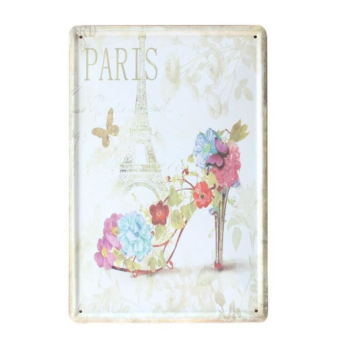 Tableau vintage imprime sur metal paris shoe 20x30 unique for Tableau imprime sur verre