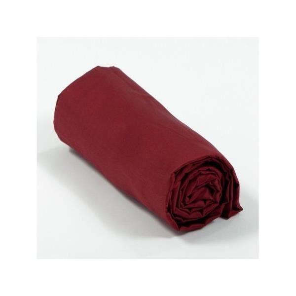 Drap housse 160x200 cm couleur bordeaux gamme tarantino - Drap housse coton 160x200 ...
