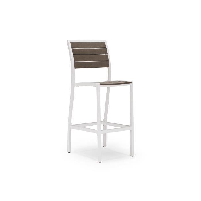 Chaise de bar zinnia en plastique marron et blanc massivum for Chaise de jardin plastique blanc
