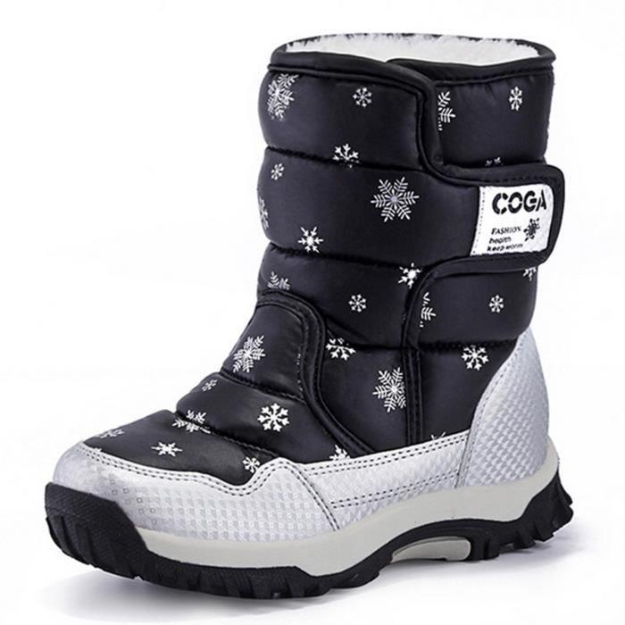 bottes apr s ski enfantes unisexe chaussure des neiges noir bottine antid rapant 2016 pour no l. Black Bedroom Furniture Sets. Home Design Ideas