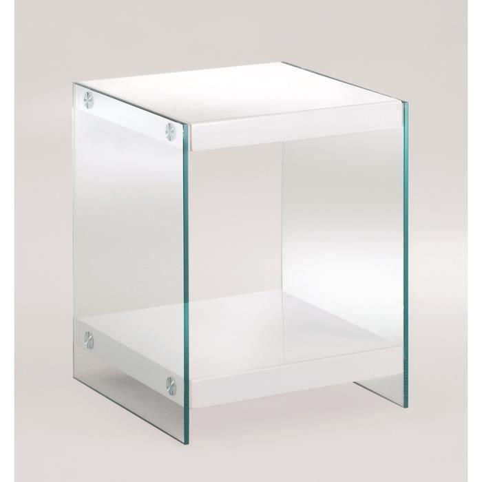 Table d 39 appoint en mdf verre tremp coloris bl achat for Table d appoint verre