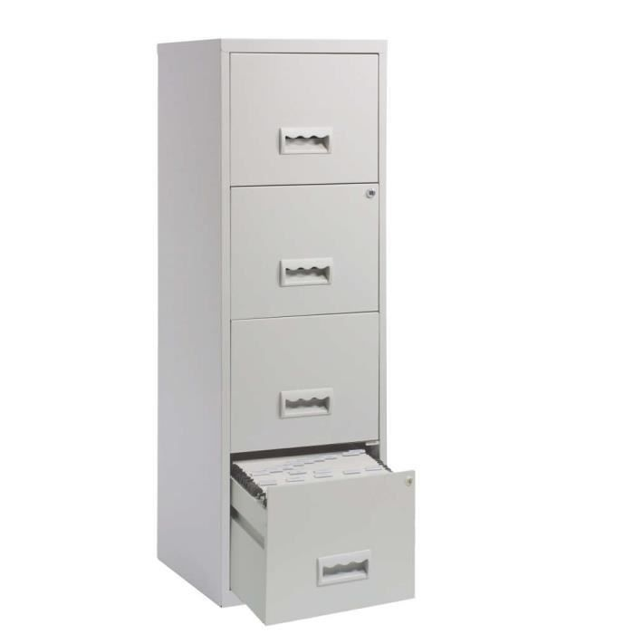 colonne de rangement 4 tiroirs en m tal gris cl achat vente meuble classement colonne de. Black Bedroom Furniture Sets. Home Design Ideas