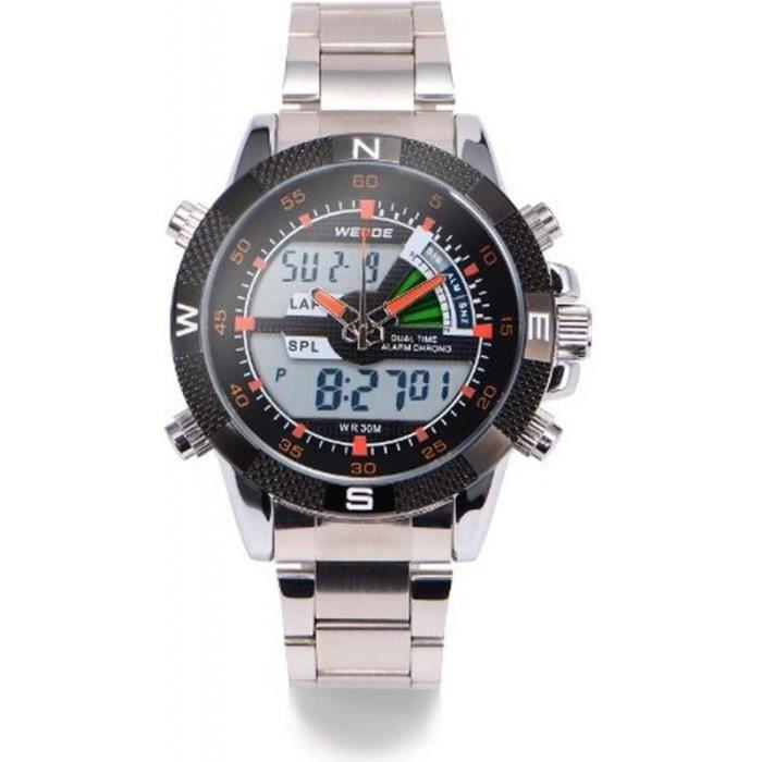 weide wa185 montre homme analogique digitale bracelet acier inoxydable achat vente montre. Black Bedroom Furniture Sets. Home Design Ideas