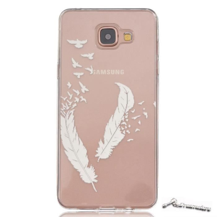 coque pour samsung galaxy a3 2016 sm a310f etui housse plumes blanches silicone tpu. Black Bedroom Furniture Sets. Home Design Ideas