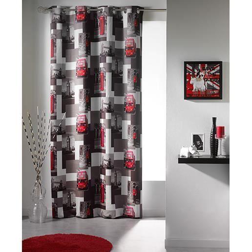rideau panneau occultant 140x260 cm photoprint ville. Black Bedroom Furniture Sets. Home Design Ideas