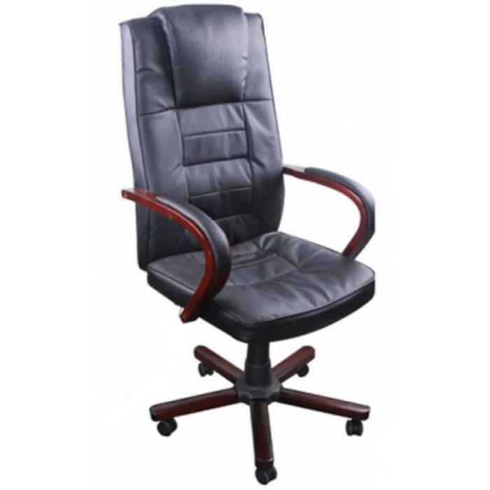 Fauteuil de bureau cuir noir classique 0502010 achat vente chaise de bure - Cdiscount fauteuil de bureau ...