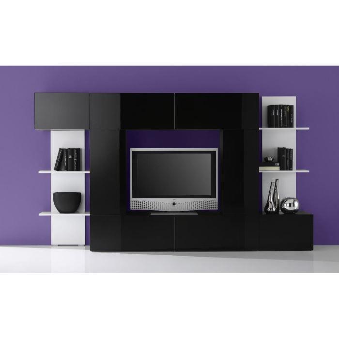 Ensemble meuble tv design laqu blanc et noir b achat vente meuble tv - Meuble tv blanc et noir laque ...
