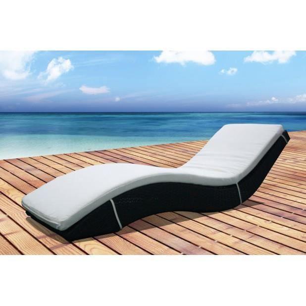 Magnifique bain de soleil transat en r sine tress e avec matelas achat ve - Transat en resine tressee ...