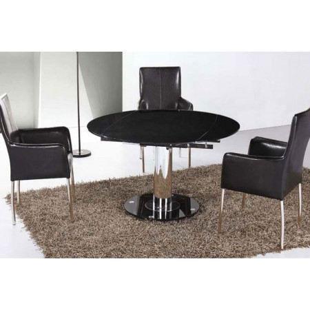 Table manger daisy ronde extensible noir achat vente table manger tab - Table a manger ronde pas cher ...