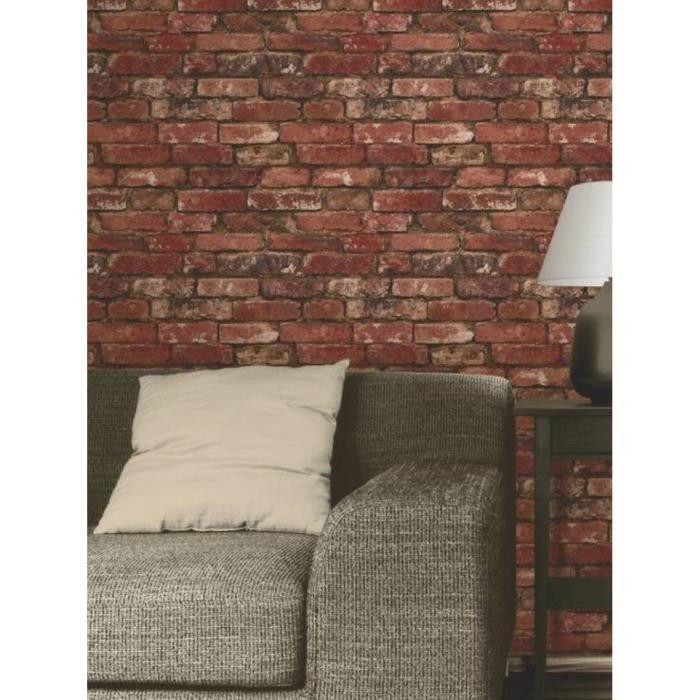 papier peint brique rouge achat vente papier peint brique rouge pas cher cdiscount. Black Bedroom Furniture Sets. Home Design Ideas