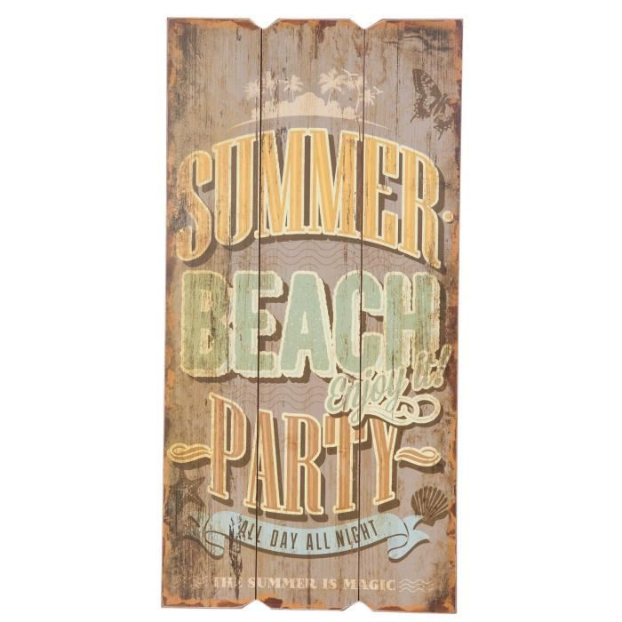 Panneau bois summer beach party neuf deco murale 30x60cm for Decoration murale imitation bois