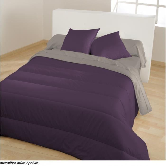 couette microfibre bicolore m re poivre220 x 240 cm. Black Bedroom Furniture Sets. Home Design Ideas
