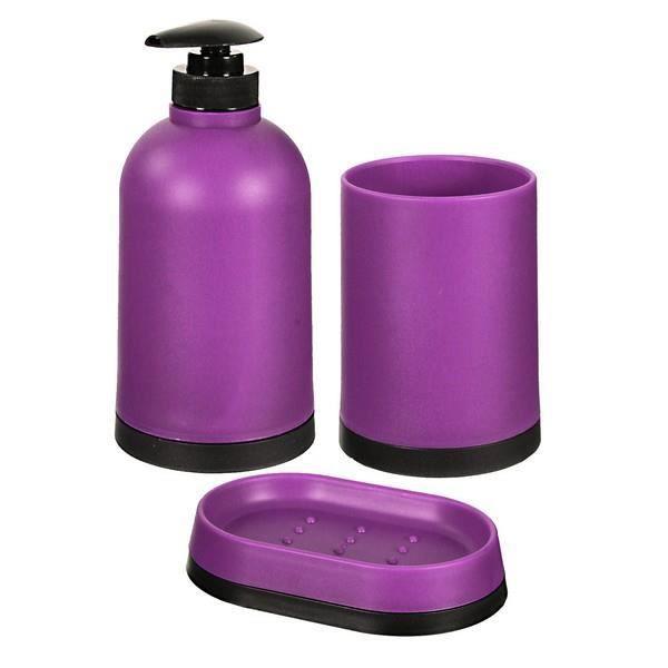 Set de salle de bain 3 pi ces violet achat vente set for Set de salle de bain